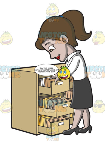 A Female Employee Looking For A File