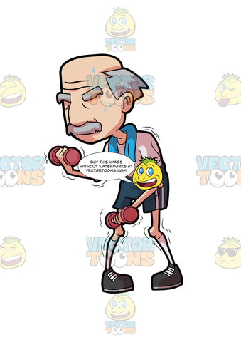 A Grandpa Lifting Dumbbells