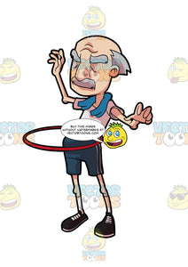 A Grandpa Playing With A Hula Hoop