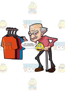 A Grandpa Checking The Price Tag Of Shirts