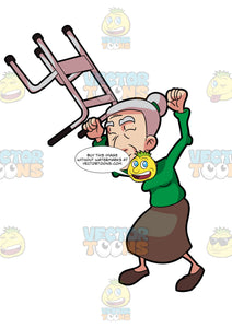 A Very Happy Grandma Lifting Her Walker In The Air