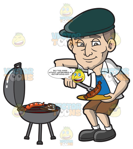 An Old Man Placing The Food That He Grilled On A Plate