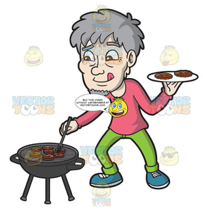A Hungry Elderly Man Getting The Cooked Burger Patties