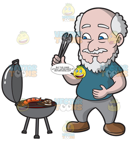 A Hungry Old Man Grilling A Sausage And Steak