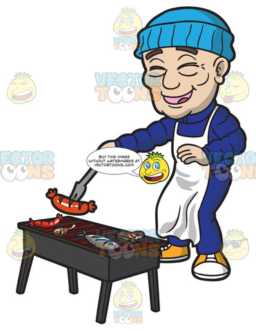 A Happy Old Man Enjoys Cooking Meat On The Grill