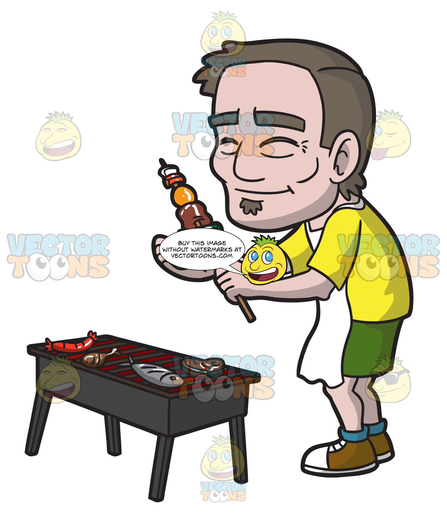 A Happy Old Man Barbecuing For A Small Party