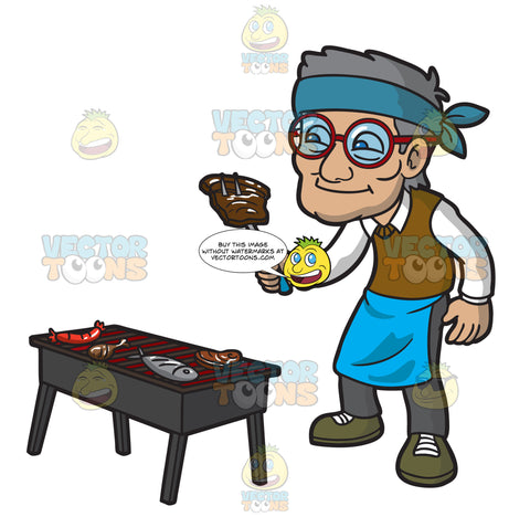 An Old Man Grilling His Favorite Food
