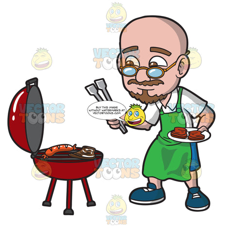 An Old Bald Man Barbecuing Steaks And A Sausage