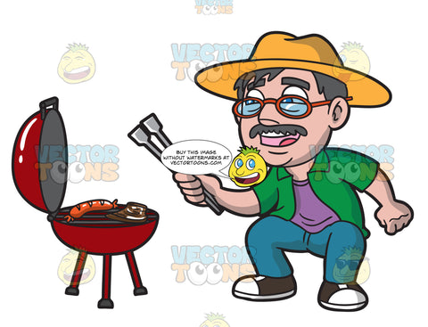 An Elderly Man Barbecuing Sausages And Steak