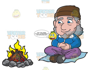 An Elderly Man Relaxing In Front Of A Campfire
