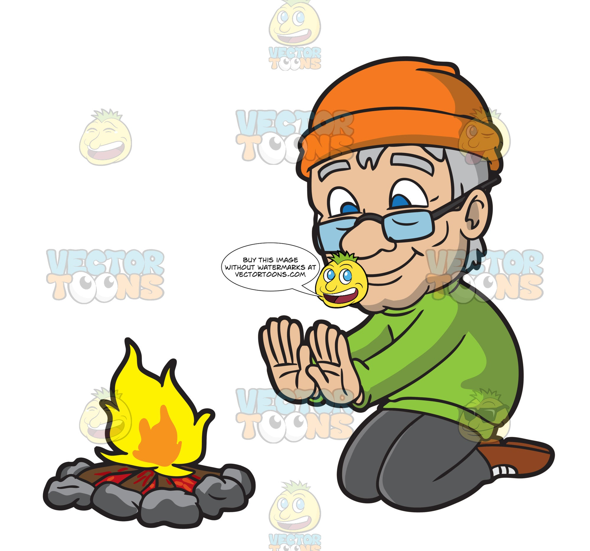 An Old Man Warming His Hands In Front Of A Campfire