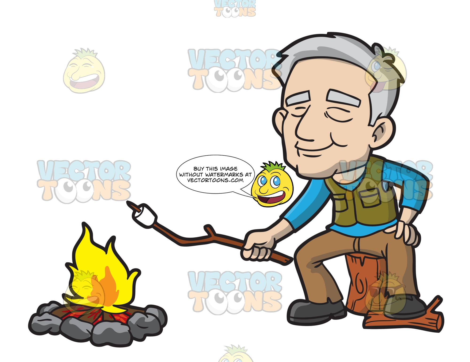 An Old Male Camper Grilling A Marshmallow