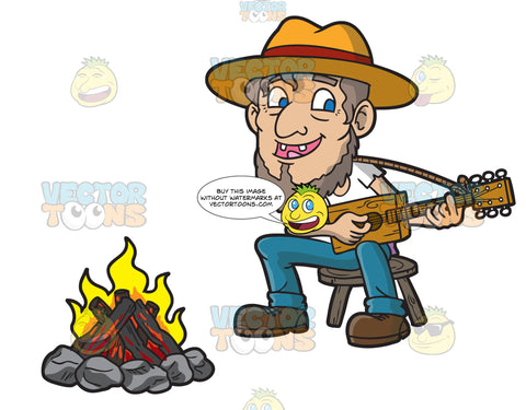 An Old Male Camper Playing The Guitar In Front Of A Camp Fire