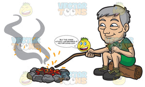 An Old Male Camper Moving The Hot Stones In The Campfire Pit