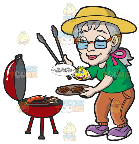 An Elderly Woman Barbecuing Patties And Sausages