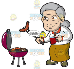 An Old Woman Grilling Sausages And Steak