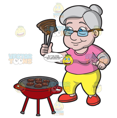 An Old Woman Grilling Beef Patties And Steak