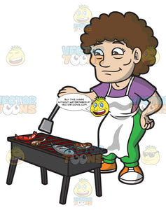 An Elderly Woman Turning Over The Grilled Meats
