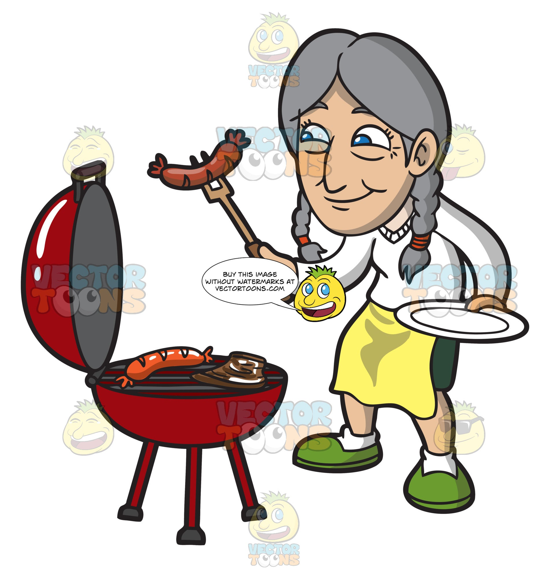 An Old Woman Getting The Cooked Sausage Off The Griller