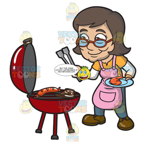 An Elderly Woman Grilling Her Favorite Food