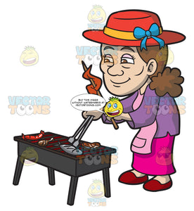 An Elderly Woman Barbecuing Different Kinds Of Meat