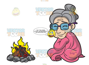 An Old Woman Getting Comfy Beside The Campfire