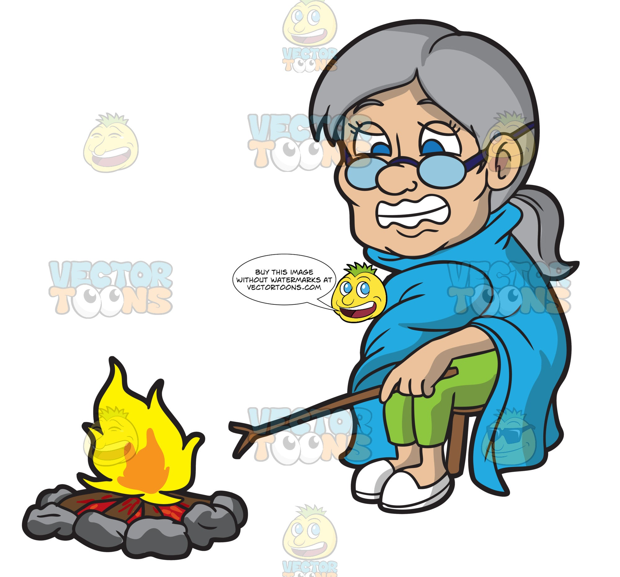 A Shivering Old Woman Sitting Beside A Campfire