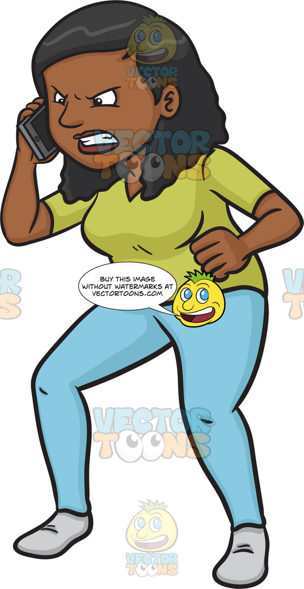 An Enraged Black Woman Talking On The Phone – Clipart ... Old Lady On Cell Phone Clip Art