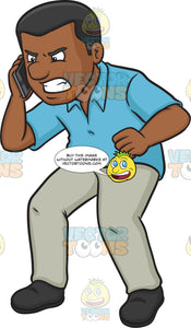 An Angry Black Man Scolding Someone On The Other Line Of The Phone
