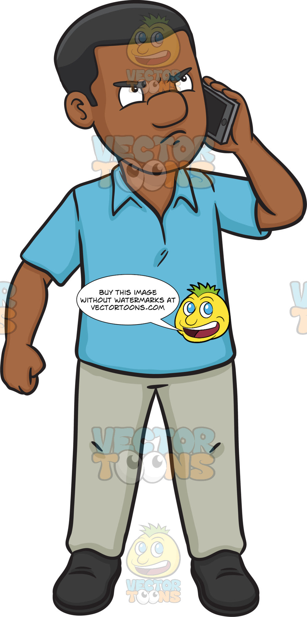 An Upset Black Man Talking On The Phone Clipart Cartoons By