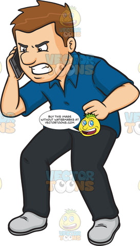 An Angry Man Scolding Someone On The Other Line Of The Phone
