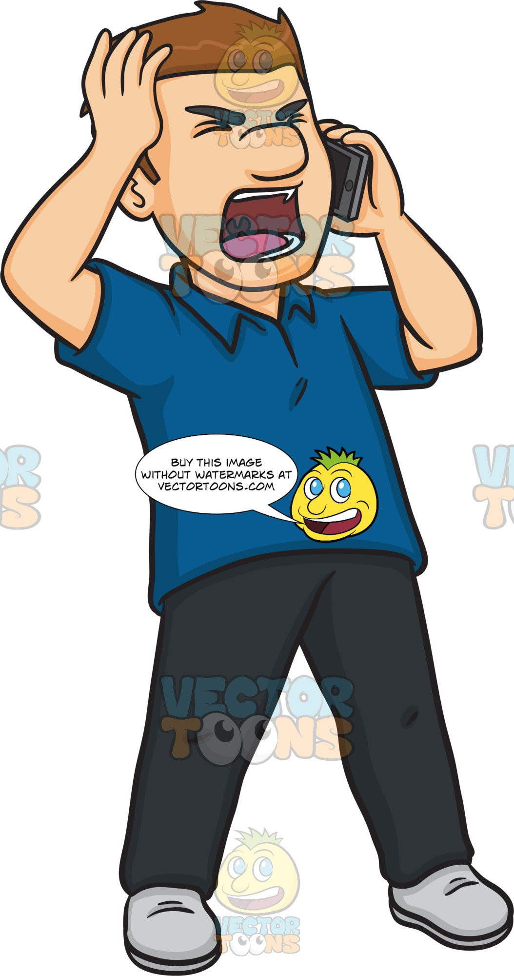 A Very Angered Man Talking On The Phone Clipart Cartoons By