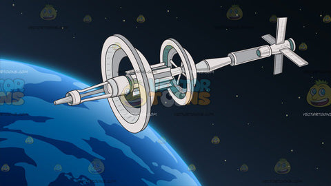Orbiting Space Station Background