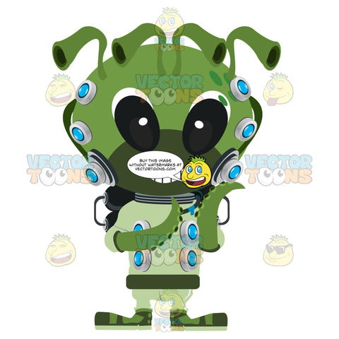 Cute Alien Space Monster With Antenna And Tentacles