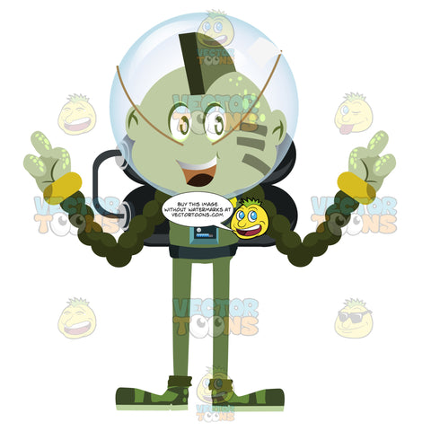 Green Mowhawk Alien With Three Fingers In Space Suit