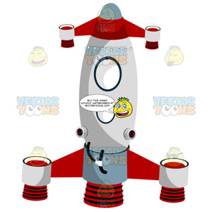 Red Dual Rocket Propelled Space Ship With Two Oval Viewing Windows