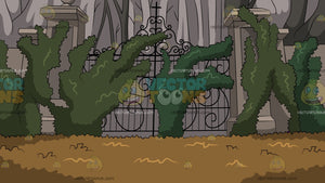 Overgrown Mansion Gate Background