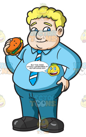 A Fat Man With A Hamburger