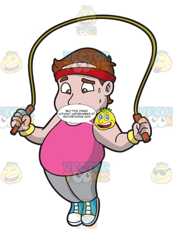 An Overweight Man Skipping Rope