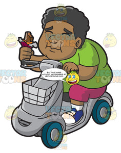 A Black Overweight Man On A Scooter Enjoying A Chocolate Bar