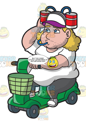 An Overweight Man On A Scooter Sipping Drinks From His Cap