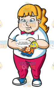 An Overweight Woman Snacking On Potato Chips