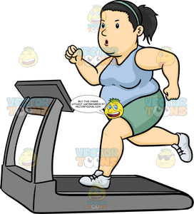 A Fat Woman Using The Treadmill To Lose Weight