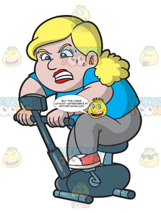 An Overweight Woman Pedals An Exercise Bike