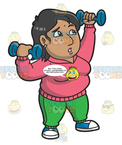 An Overweight Indian Woman Lifting Some Dumbbells