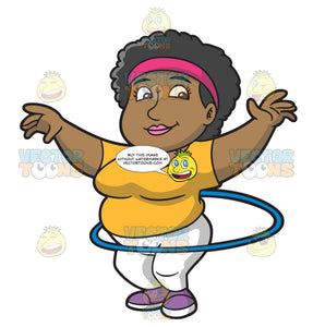 An Overweight Woman Doing The Hula Hoop Workout