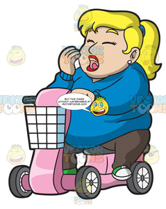 A Sleepy Overweight Woman On A Scooter