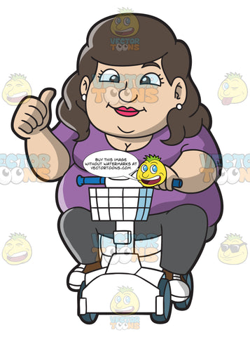 A Happy Overweight Woman On A Scooter