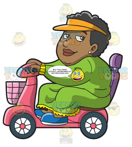 An Overweight Black Woman On A Scooter Roaming Around The Area