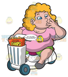 An Overweight Woman On A Scooter Eating A Bag Of Potato Chips
